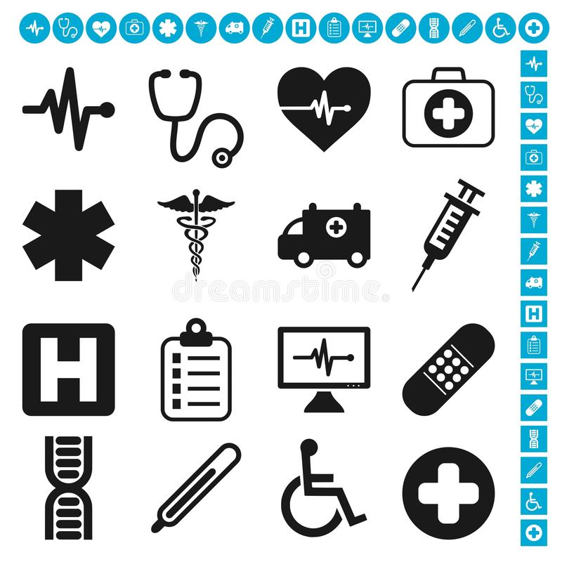 Ιατρικό διανυσματικό σύνολο εικονιδίων διανυσματική απεικόνιση