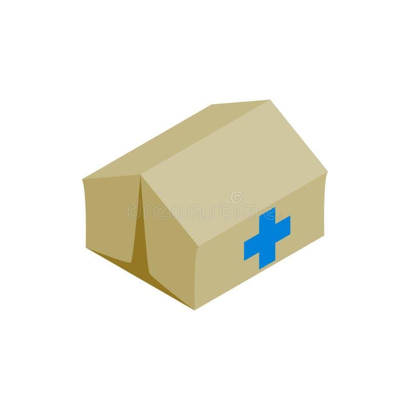 Ιατρικό κέντρο για το εικονίδιο προσφύγων, isometric ύφος ελεύθερη απεικόνιση δικαιώματος