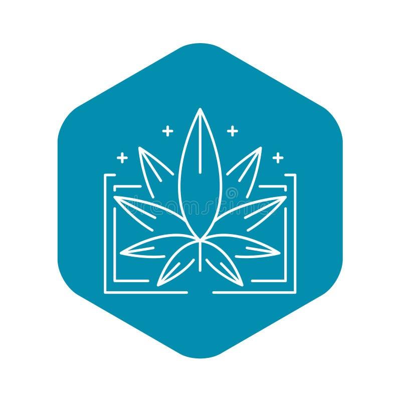Ιατρικό λογότυπο φύλλων μαριχουάνα, ύφος περιλήψεων απεικόνιση αποθεμάτων