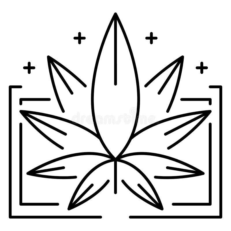 Ιατρικό λογότυπο φύλλων μαριχουάνα, ύφος περιλήψεων διανυσματική απεικόνιση