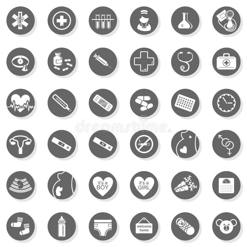 36 ιατρικό μονοχρωματικό σύνολο κουμπιών υγειονομικής περίθαλψης ελεύθερη απεικόνιση δικαιώματος