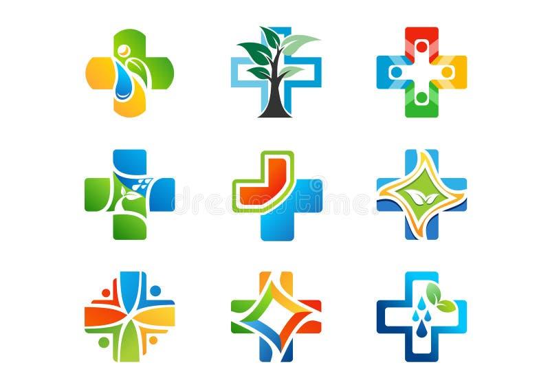 Ιατρικό λογότυπο φαρμακείων, ιατρική υγείας συν τα εικονίδια, σύνολο διανυσματικού σχεδίου χορταριών συμβόλων φυσικού διανυσματική απεικόνιση