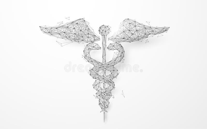 Ιατρικό πλέγμα συμβόλων κηρυκείων Wireframe από ένα έναστρο υπόβαθρο ελεύθερη απεικόνιση δικαιώματος