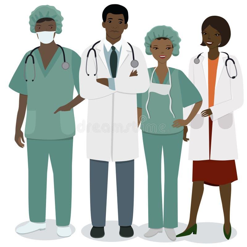 Ιατρικό προσωπικό Ένα σύνολο ιατρικών επαγγελμάτων ανδρών και γυναικών Διανυσματική εικόνα που απομονώνεται στο άσπρο υπόβαθρο απεικόνιση αποθεμάτων