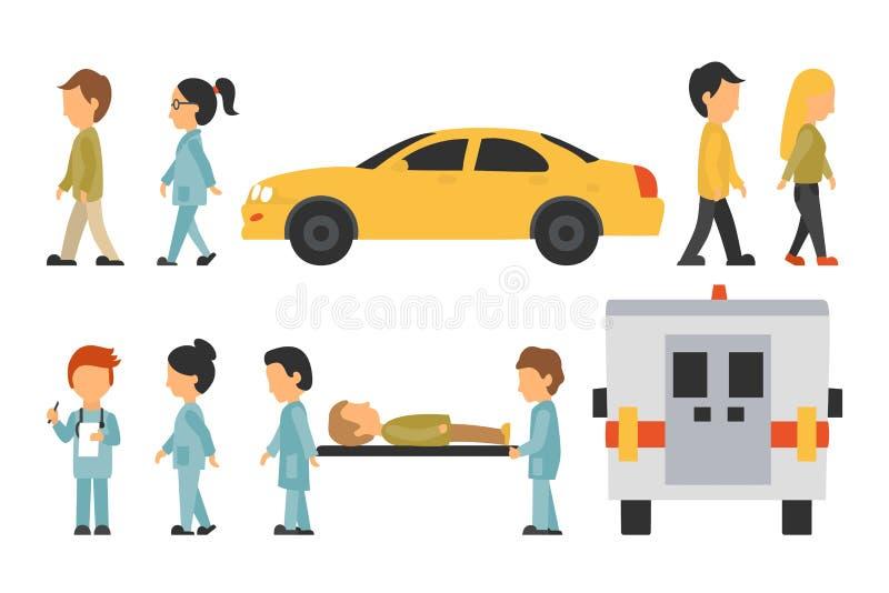 Ιατρικό προσωπικό επίπεδο, απομονωμένος στο άσπρο υπόβαθρο, γιατρός, νοσοκόμα, προσοχή, διανυσματική απεικόνιση ανθρώπων, γραφικό απεικόνιση αποθεμάτων