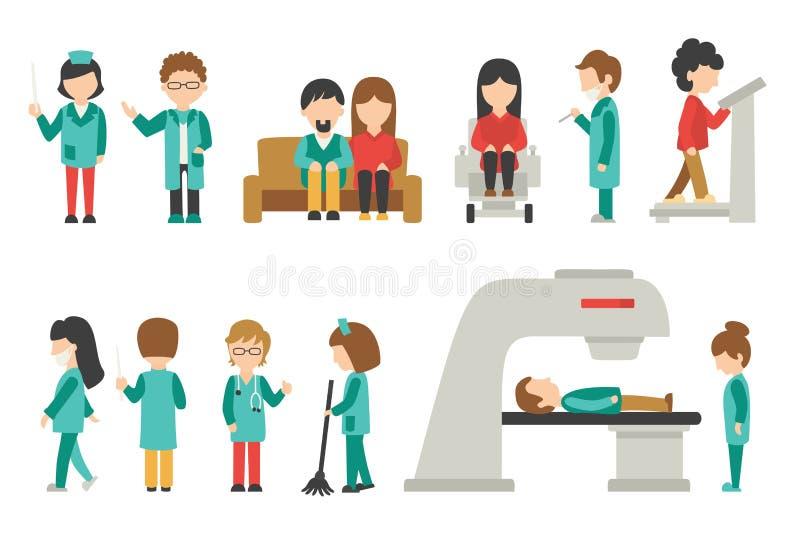 Ιατρικό προσωπικό επίπεδο, απομονωμένος στο άσπρο υπόβαθρο, γιατρός, νοσοκόμα, προσοχή, διανυσματική απεικόνιση ανθρώπων, γραφικό διανυσματική απεικόνιση
