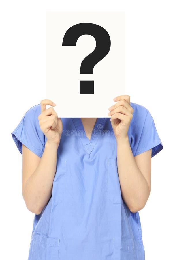 Ιατρικό πρόσωπο με μια ερώτηση στοκ φωτογραφία με δικαίωμα ελεύθερης χρήσης