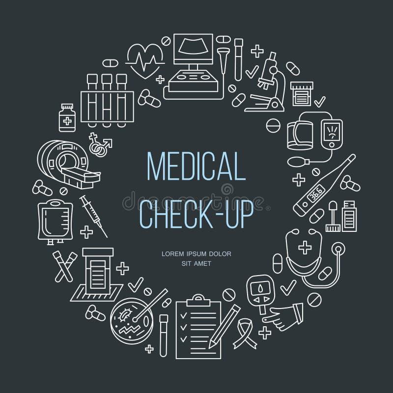 Ιατρικό πρότυπο αφισών Διανυσματικό εικονίδιο γραμμών, ιατρικό κέντρο, έλεγχος υγείας επάνω, ιατρικός εξοπλισμός απεικόνιση αποθεμάτων