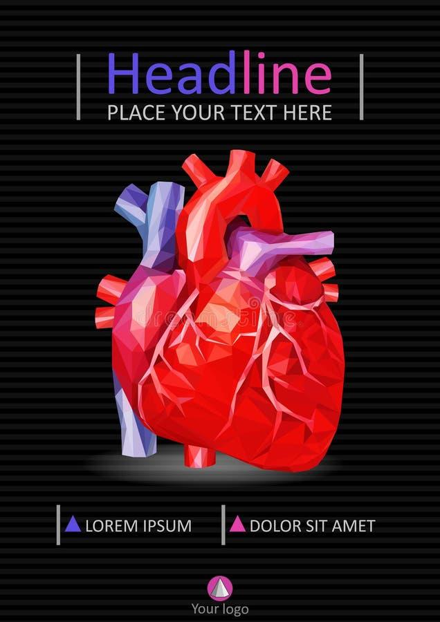 Ιατρικό πρότυπο εκθέσεων A4 Σχέδιο κάλυψης με τη χαμηλή πολυ ανθρώπινη καρδιά απεικόνιση αποθεμάτων