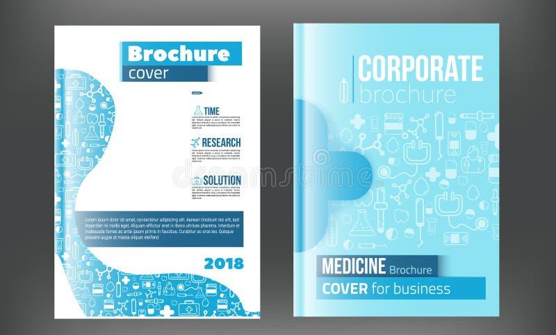 Ιατρικό πρότυπο σχεδίου φυλλάδιων Ιπτάμενο με τα ευθύγραμμα εικονίδια ιατρικής, σύγχρονη έννοια Infographic για τη ετήσια έκθεση  διανυσματική απεικόνιση