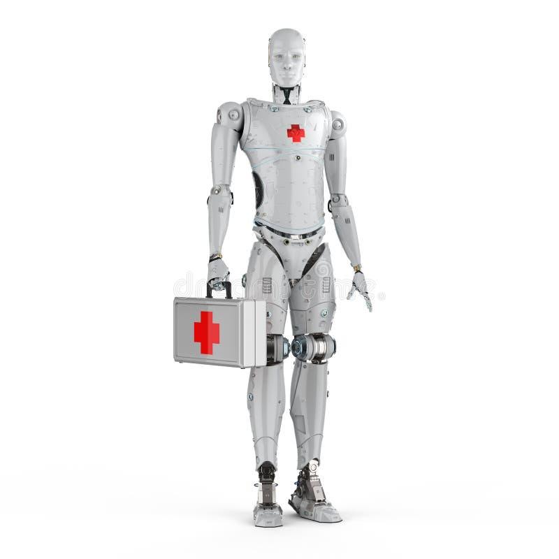 Ιατρικό ρομπότ με το σημάδι Ερυθρών Σταυρών ελεύθερη απεικόνιση δικαιώματος