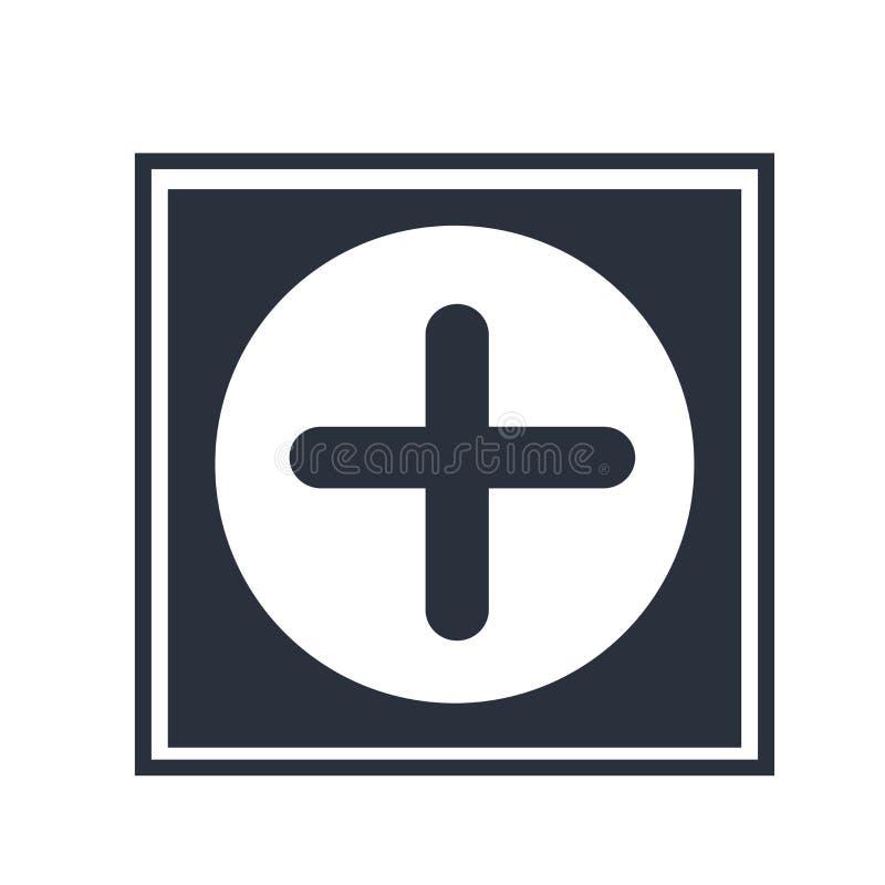 Ιατρικό σήμα νοσοκομείων ενός σταυρού σε ένα διανυσματικά σημάδι και ένα σύμβολο εικονιδίων κύκλων που απομονώνονται στο άσπρο υπ απεικόνιση αποθεμάτων
