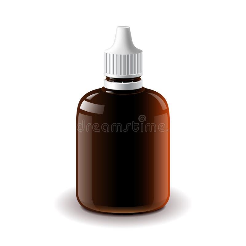 Ιατρικό σκοτεινό πλαστικό απομονωμένο μπουκάλι διάνυσμα διανυσματική απεικόνιση