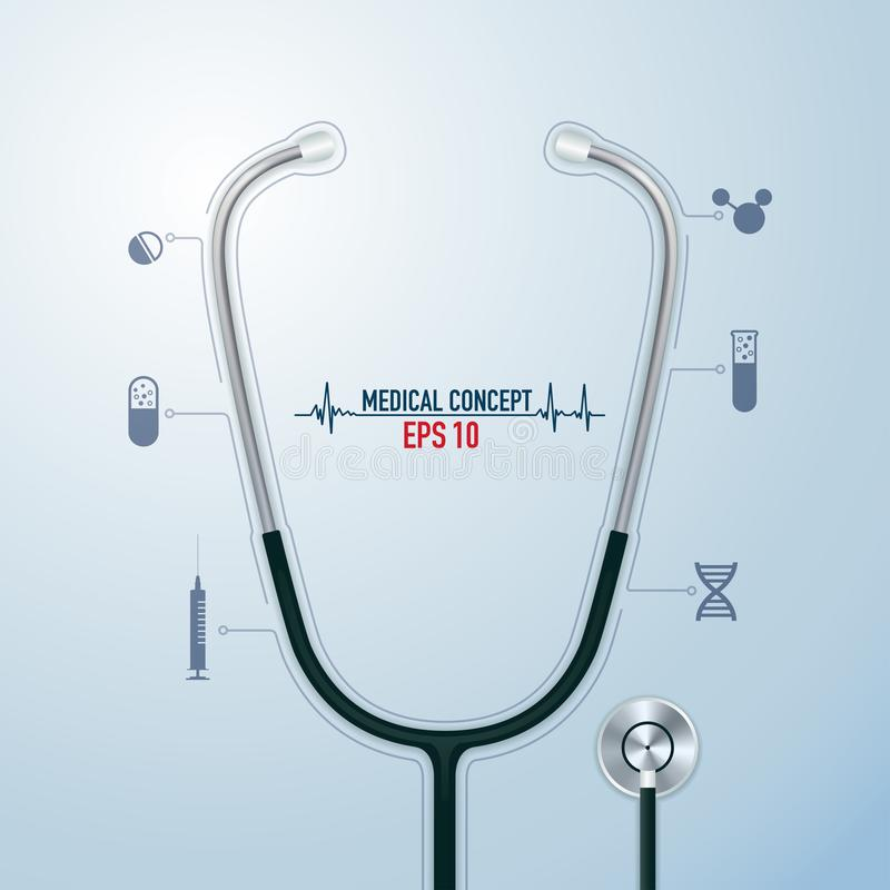 Ιατρικό στηθοσκόπιο διανυσματική απεικόνιση