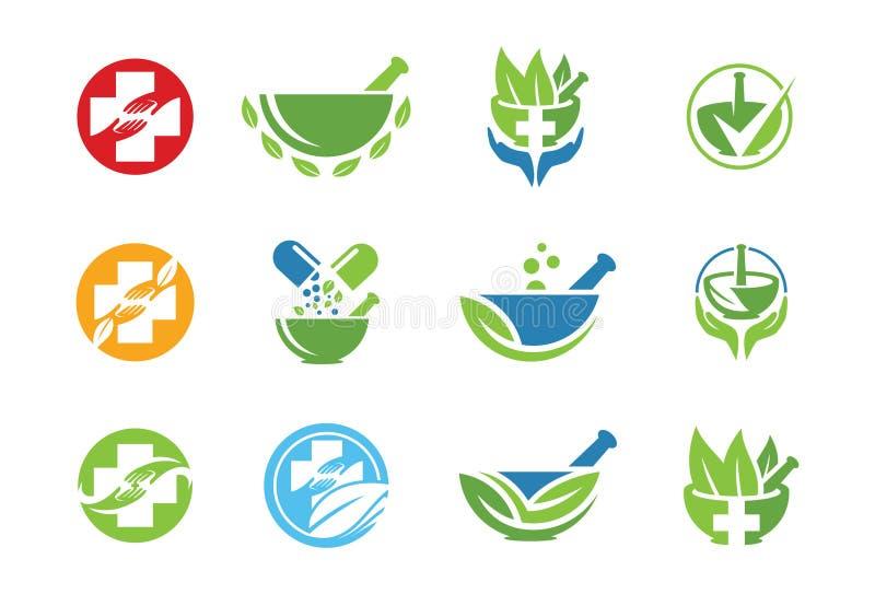 Ιατρικό σύνολο εικονιδίων ή λογότυπων διανυσματική απεικόνιση