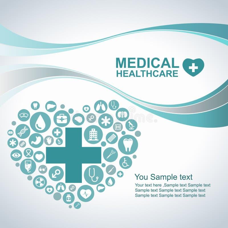 Ιατρικό υπόβαθρο υγειονομικής περίθαλψης, εικονίδια κύκλων για να γίνει καρδιά και γραμμή κυμάτων διανυσματική απεικόνιση
