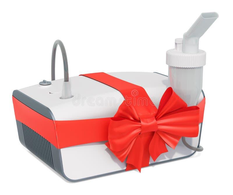 Ιατρικό inhaler, nebulizer με το τόξο και κορδέλλα, έννοια δώρων τρισδιάστατη απόδοση απεικόνιση αποθεμάτων