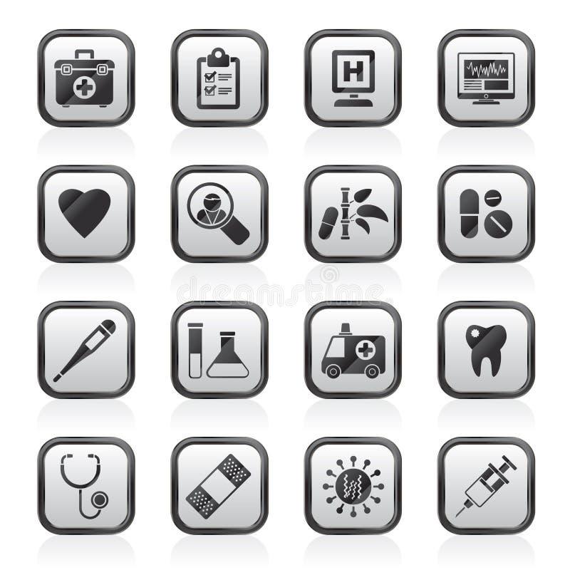 Ιατρικών και υγειονομικής περίθαλψης εικονίδια νοσοκομείων, διανυσματική απεικόνιση