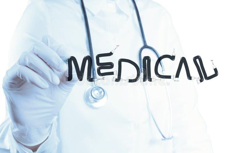 ΙΑΤΡΟΣ λέξης σχεδίου σχεδίων χεριών γιατρών στοκ φωτογραφία