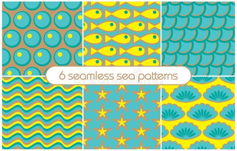 6 διαφορετικά άνευ ραφής σχέδια θάλασσας (επικεράμωση) επίσης corel σύρετε το διάνυσμα απεικόνισης απεικόνιση αποθεμάτων