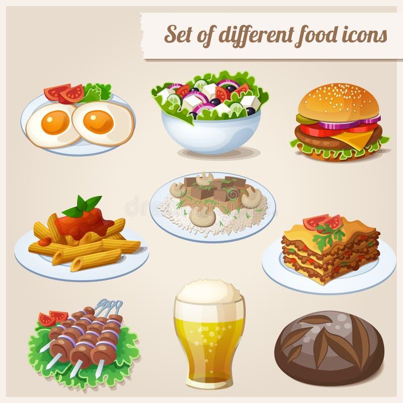 διαφορετικά εικονίδια τροφίμων που τίθενται διανυσματική απεικόνιση