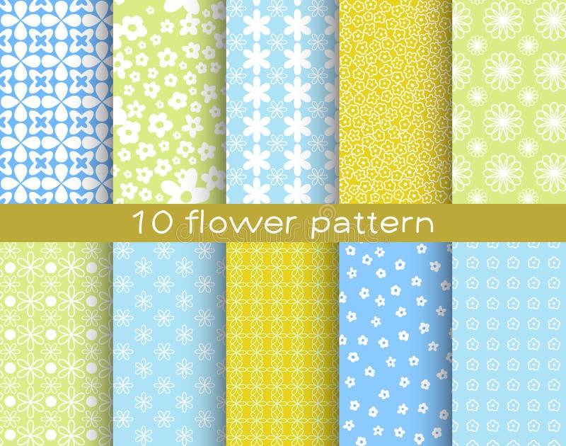 10 διαφορετικά διανυσματικά άνευ ραφής σχέδια λουλουδιών διανυσματική απεικόνιση