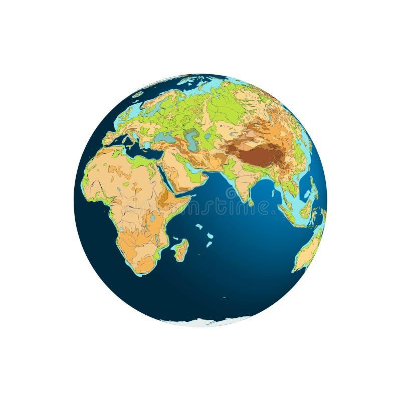 διαφορετικός σφαιρών κόσμος όψεων απεικόνισης διανυσματικός αστέρια γήινων πλήρη πλανητών ανασκόπησης Αφρική Ευρασία διανυσματική απεικόνιση