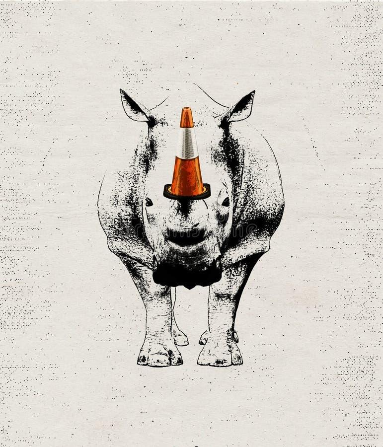 Ιδέα απεικόνισης για την προειδοποίηση ενάντια στο ρινόκερο του λαθραίου κυνηγιού διανυσματική απεικόνιση