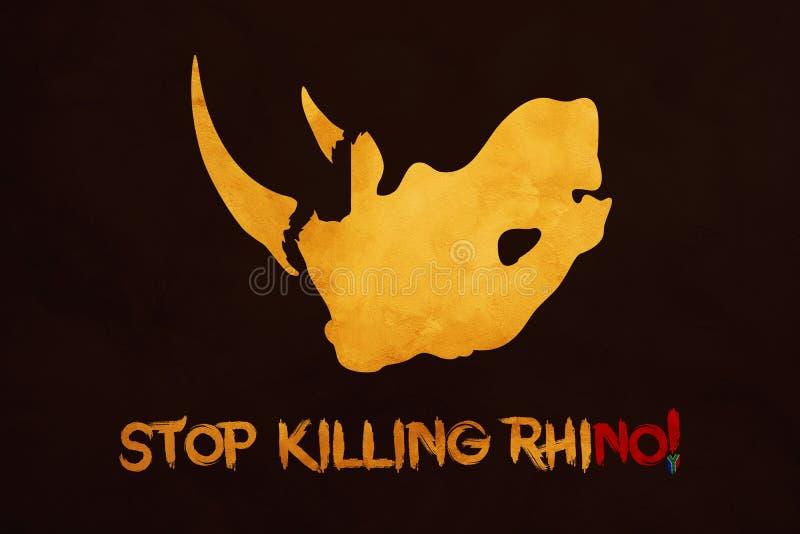 Ιδέα απεικόνισης να σταματήσει τους ρινοκέρους στη Νότια Αφρική διανυσματική απεικόνιση