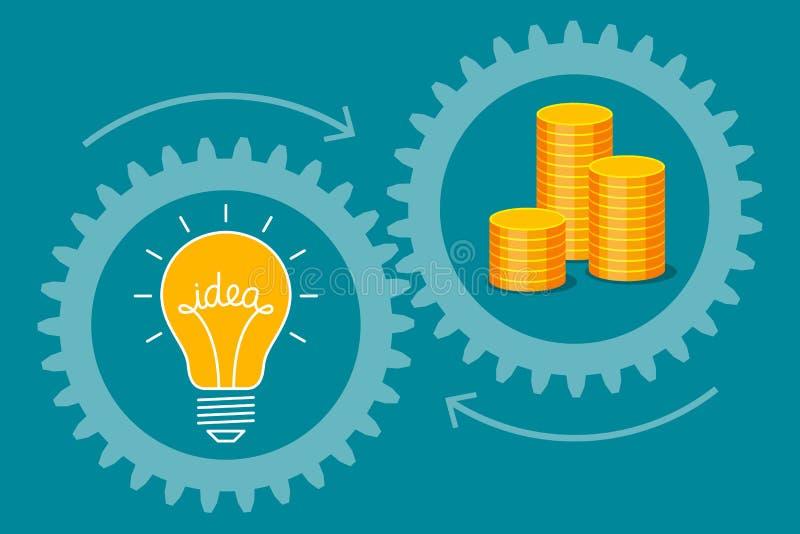 Ιδέα-βολβός και χρυσά νομίσματα απεικόνιση αποθεμάτων