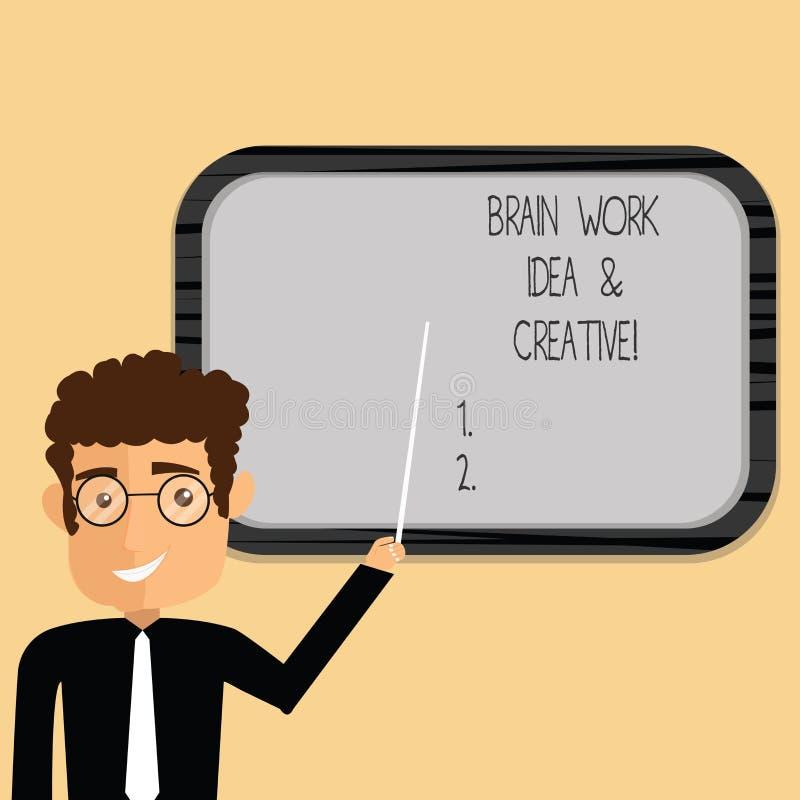 Ιδέα εργασίας εγκεφάλου κειμένων γραψίματος λέξης και δημιουργικός Επιχειρησιακή έννοια για το καινοτόμο σκεπτόμενο άτομο καταιγι απεικόνιση αποθεμάτων