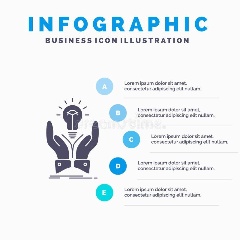 ιδέα, ιδέες, δημιουργικός, μερίδιο, πρότυπο Infographics χεριών για τον ιστοχώρο και παρουσίαση Γκρίζο εικονίδιο GLyph με μπλε in απεικόνιση αποθεμάτων