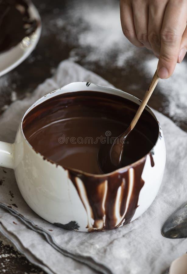 Ιδέα συνταγής φωτογραφίας τροφίμων Ganache στοκ εικόνες
