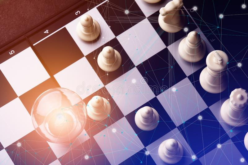 Ιδέα της έννοιας επιχειρησιακής στρατηγικής Έξυπνη επιχείρηση ιδέας σκέψης με το επιτραπέζιο παιχνίδι σκακιού 3 στοκ εικόνες