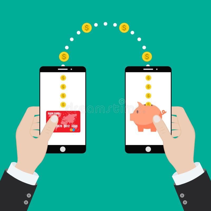 Ιδέα της αποστολής και λήψης χρημάτων μέσω κινητών τηλεφώνων. Χέρια κρΠδιανυσματική απεικόνιση