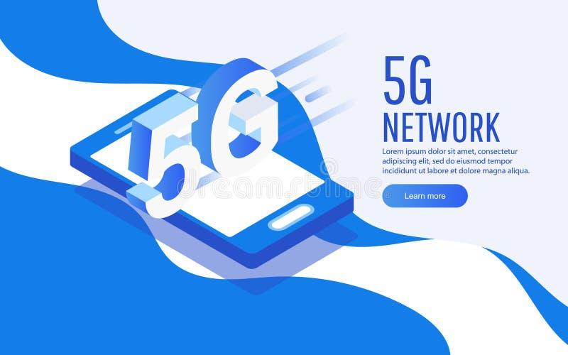 Ιδέα της ισομετρικής έξυπνης τηλεφωνικής τεχνολογίας δικτύου Creative 5G με internet υψηλής ταχύτητας Μπορεί να χρησιμοποιηθεί γι ελεύθερη απεικόνιση δικαιώματος