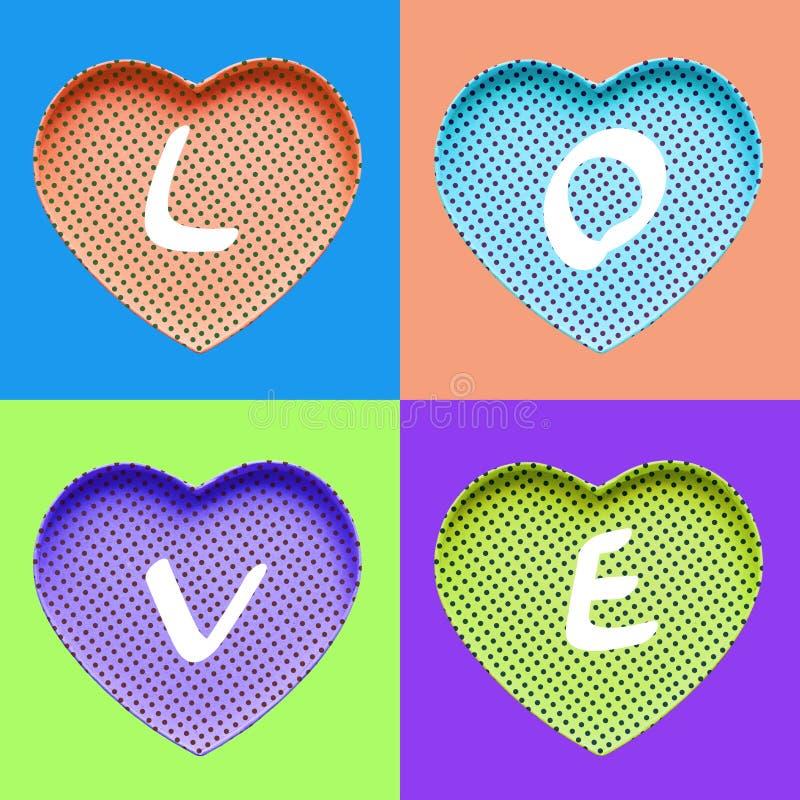 Ιδέες εννοιών αγάπης με τη ζωηρόχρωμη καρδιά στην κρητιδογραφία χρώματος ελεύθερη απεικόνιση δικαιώματος