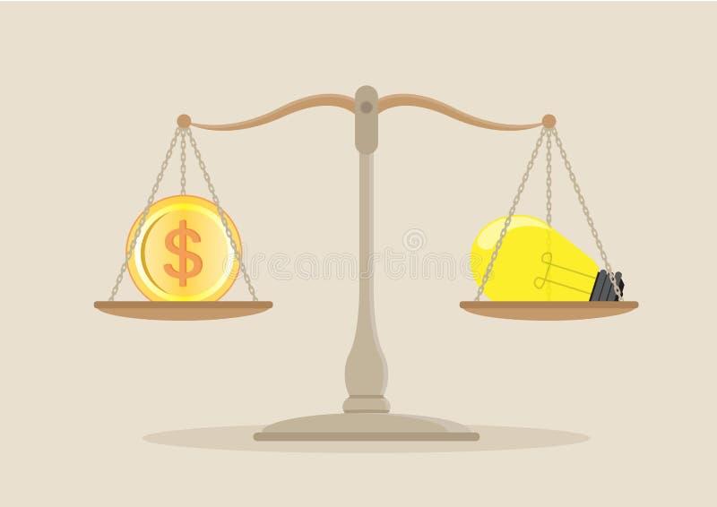 Ιδέες και ισορροπία χρημάτων στην κλίμακα απεικόνιση αποθεμάτων