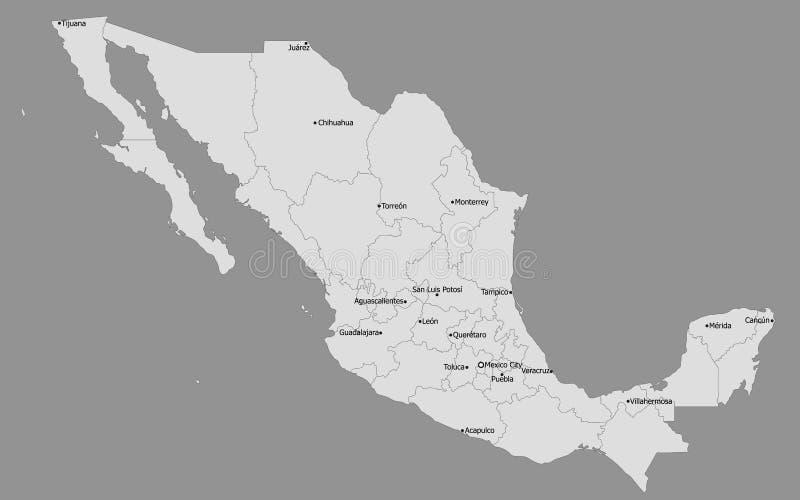 Ιδιαίτερα λεπτομερής πολιτικός χάρτης του Μεξικού, κύριες πόλεις απεικόνιση αποθεμάτων