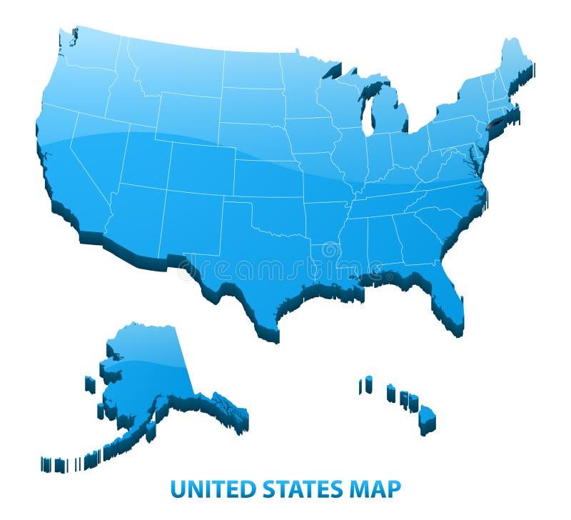 Ιδιαίτερα λεπτομερής τρισδιάστατος χάρτης των ΗΠΑ με τα σύνορα περιοχών η Αμερική δηλώνει ενωμένο διανυσματική απεικόνιση