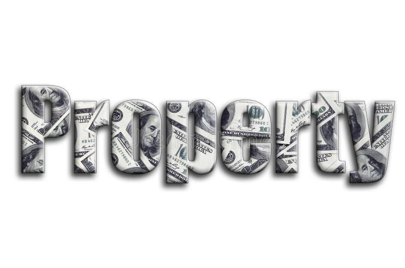 ιδιοκτησία Η επιγραφή έχει μια σύσταση της φωτογραφίας, η οποία απεικονίζει πολλούς λογαριασμούς αμερικανικών δολαρίων στοκ εικόνες με δικαίωμα ελεύθερης χρήσης