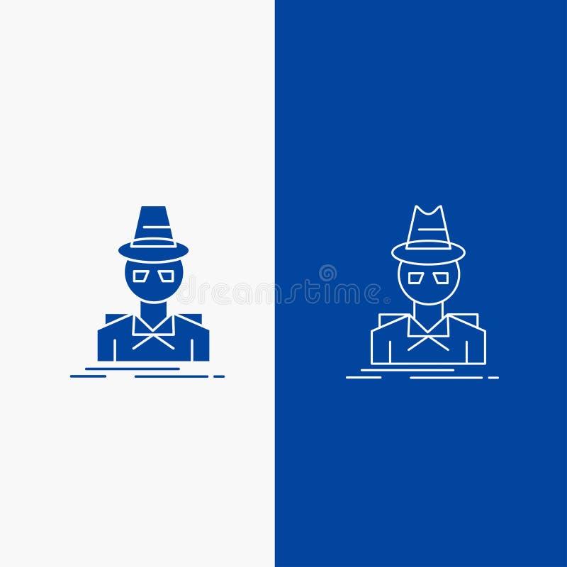 Ιδιωτικός αστυνομικός, χάκερ, ινκόγκνιτο, κατάσκοπος, γραμμή κλεφτών και κουμπί Ιστού Glyph στο μπλε κάθετο έμβλημα χρώματος για  ελεύθερη απεικόνιση δικαιώματος