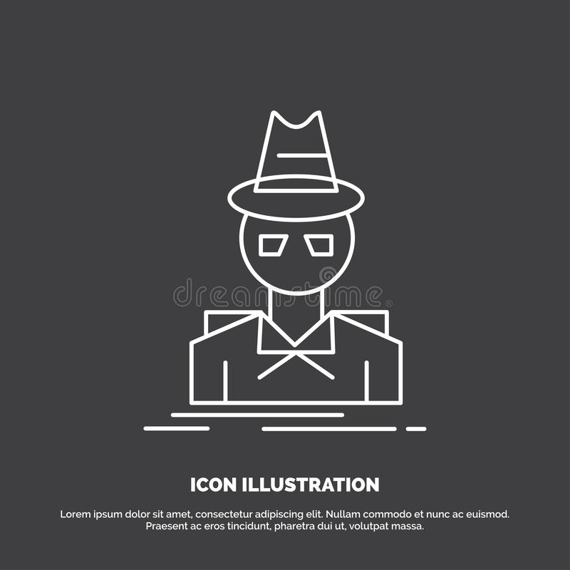 Ιδιωτικός αστυνομικός, χάκερ, ινκόγκνιτο, κατάσκοπος, εικονίδιο κλεφτών Διανυσματικό σύμβολο γραμμών για UI και UX, τον ιστοχώρο  απεικόνιση αποθεμάτων