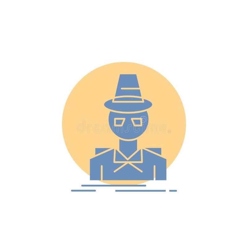 Ιδιωτικός αστυνομικός, χάκερ, ινκόγκνιτο, κατάσκοπος, εικονίδιο Glyph κλεφτών απεικόνιση αποθεμάτων