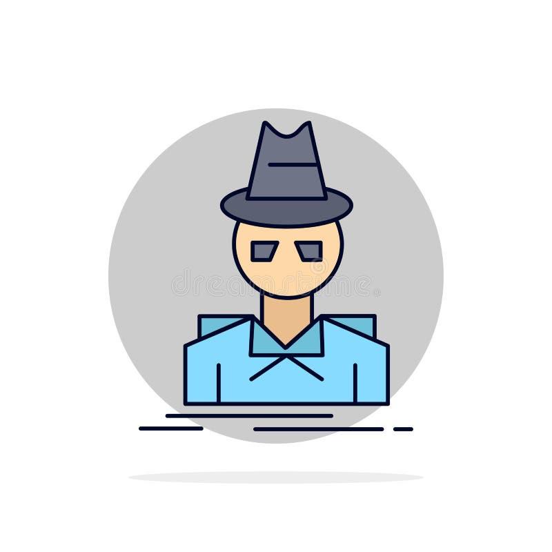 Ιδιωτικός αστυνομικός, χάκερ, ινκόγκνιτο, κατάσκοπος, επίπεδο διάνυσμα εικονιδίων χρώματος κλεφτών απεικόνιση αποθεμάτων