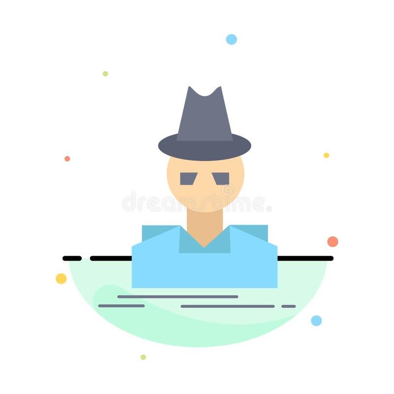 Ιδιωτικός αστυνομικός, χάκερ, ινκόγκνιτο, κατάσκοπος, επίπεδο διάνυσμα εικονιδίων χρώματος κλεφτών διανυσματική απεικόνιση