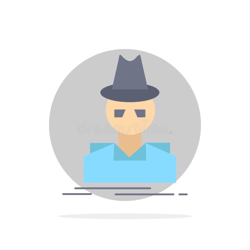 Ιδιωτικός αστυνομικός, χάκερ, ινκόγκνιτο, κατάσκοπος, επίπεδο διάνυσμα εικονιδίων χρώματος κλεφτών ελεύθερη απεικόνιση δικαιώματος