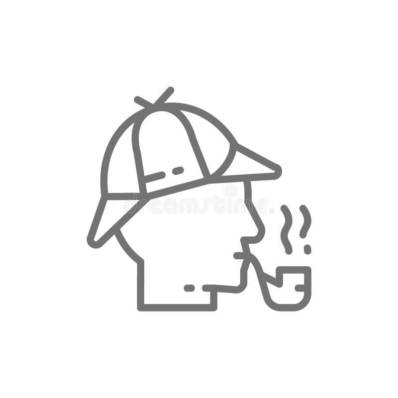 Ιδιωτικός αστυνομικός, Sherlock Holmes με το καπνίζοντας εικονίδιο γραμμών σωλήνων απεικόνιση αποθεμάτων