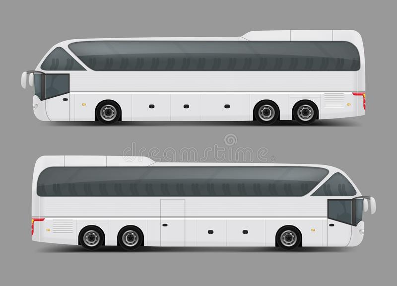 Ιδιωτικός γύρος χαρτών ή ρεαλιστικό διάνυσμα λεωφορείων λεωφορείων ελεύθερη απεικόνιση δικαιώματος