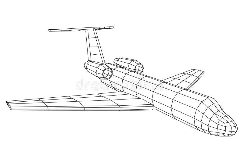 Ιδιωτικό αεριωθούμενων αεροπλάνων αεροπλάνο wireframe αεροπλάνων αφηρημένο polygonal απεικόνιση αποθεμάτων